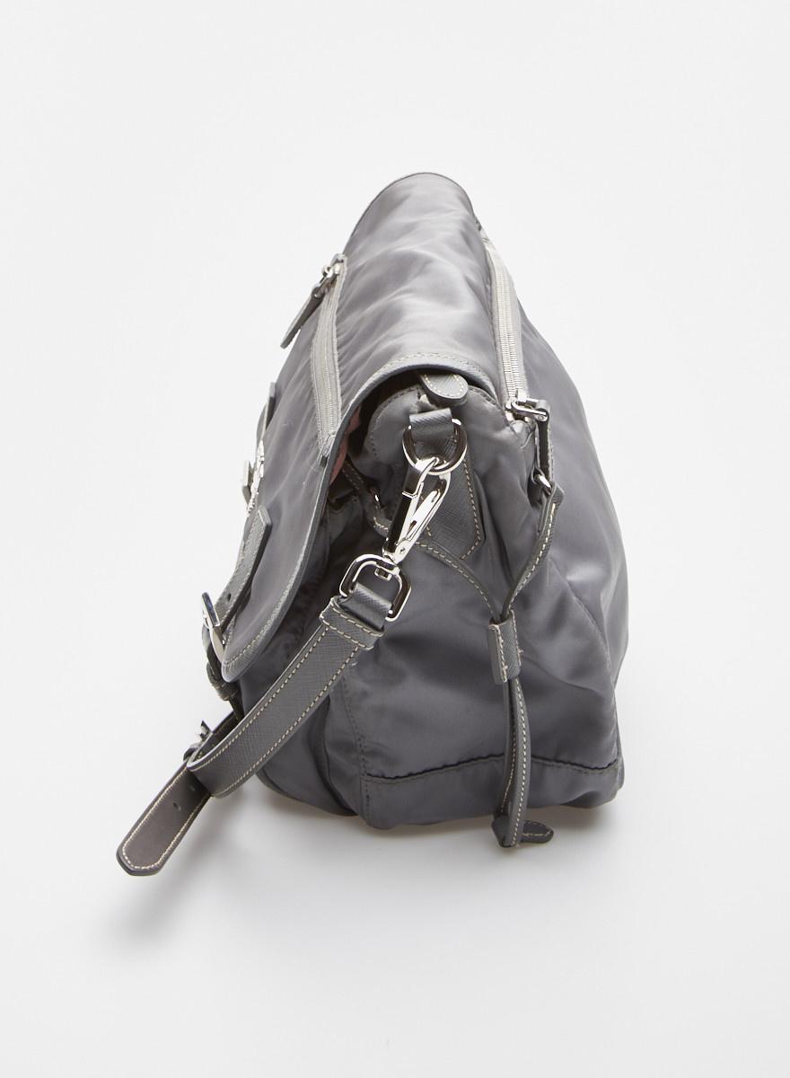 Prada Grey Nylon and Leather-Trimmed Shoulder Bag