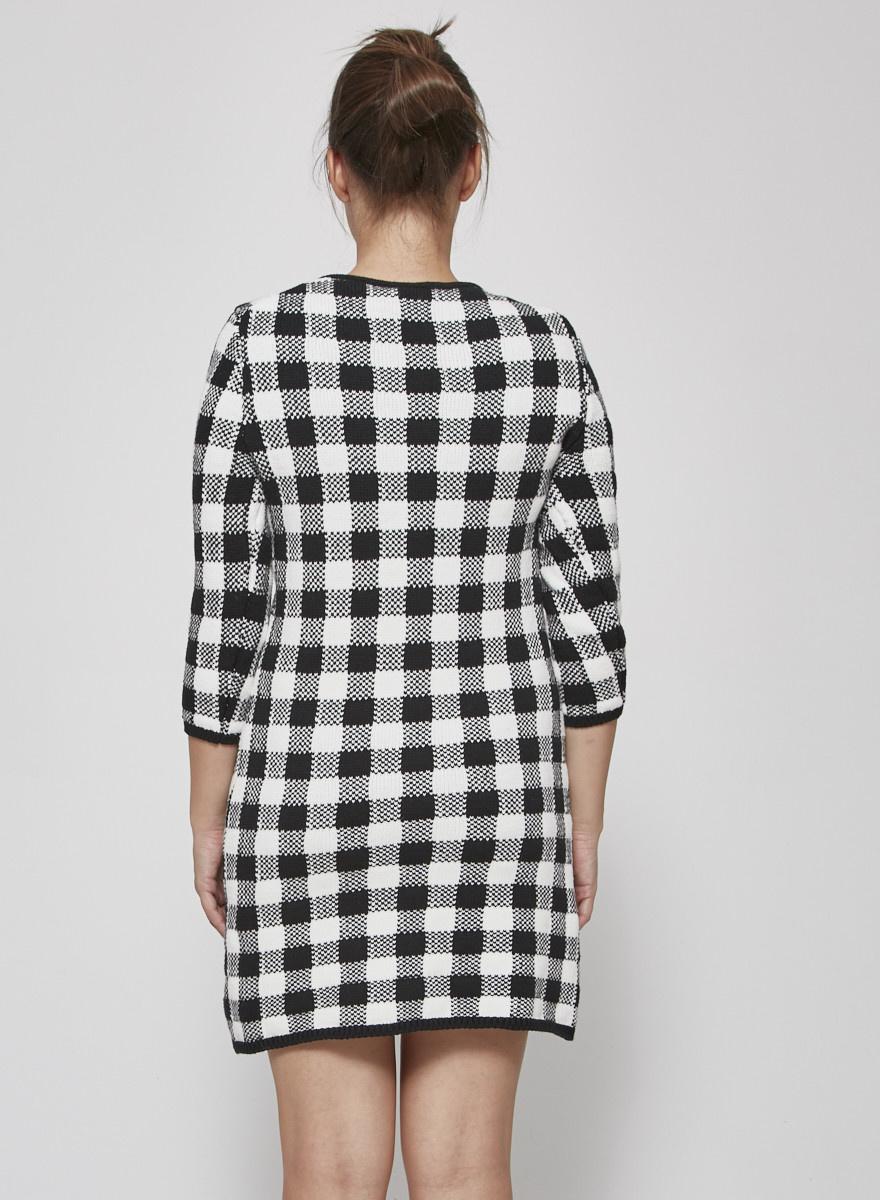 Maje Black and white pleaded dress