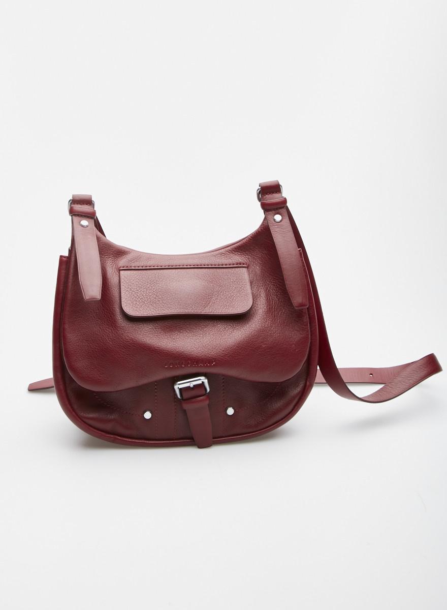 Longchamp Sac à bandoulière bordeaux en cuir