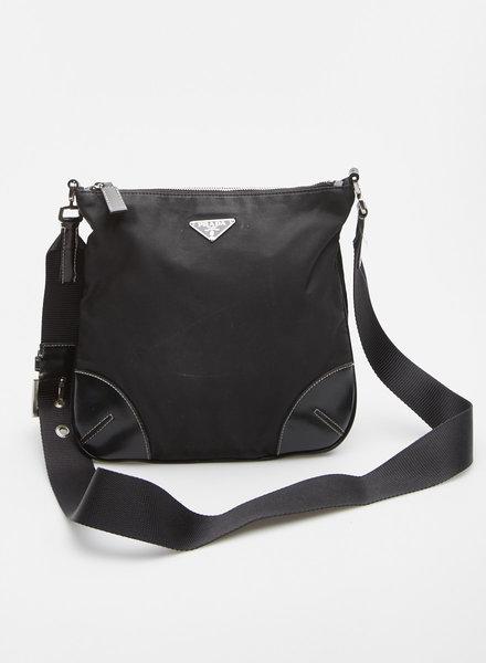 Prada BLACK NYLON AND LEATHER-TRIMMED BAG