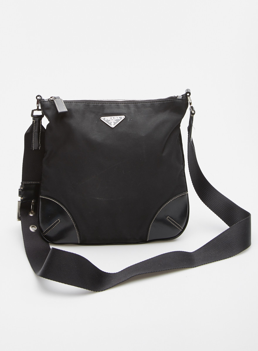 Prada Black Nylon and Leather-Trimmed Bag