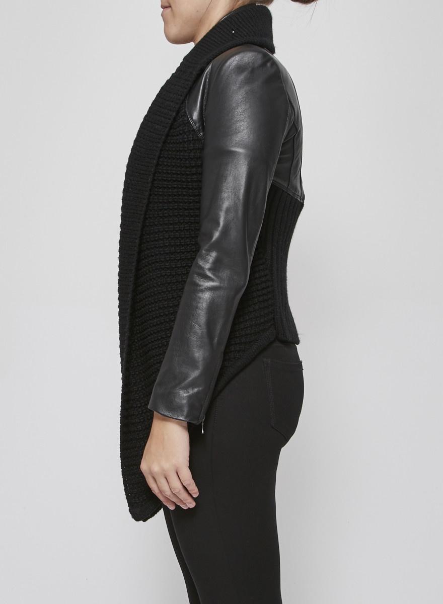 Line Perfecto noir en cuir et tricot