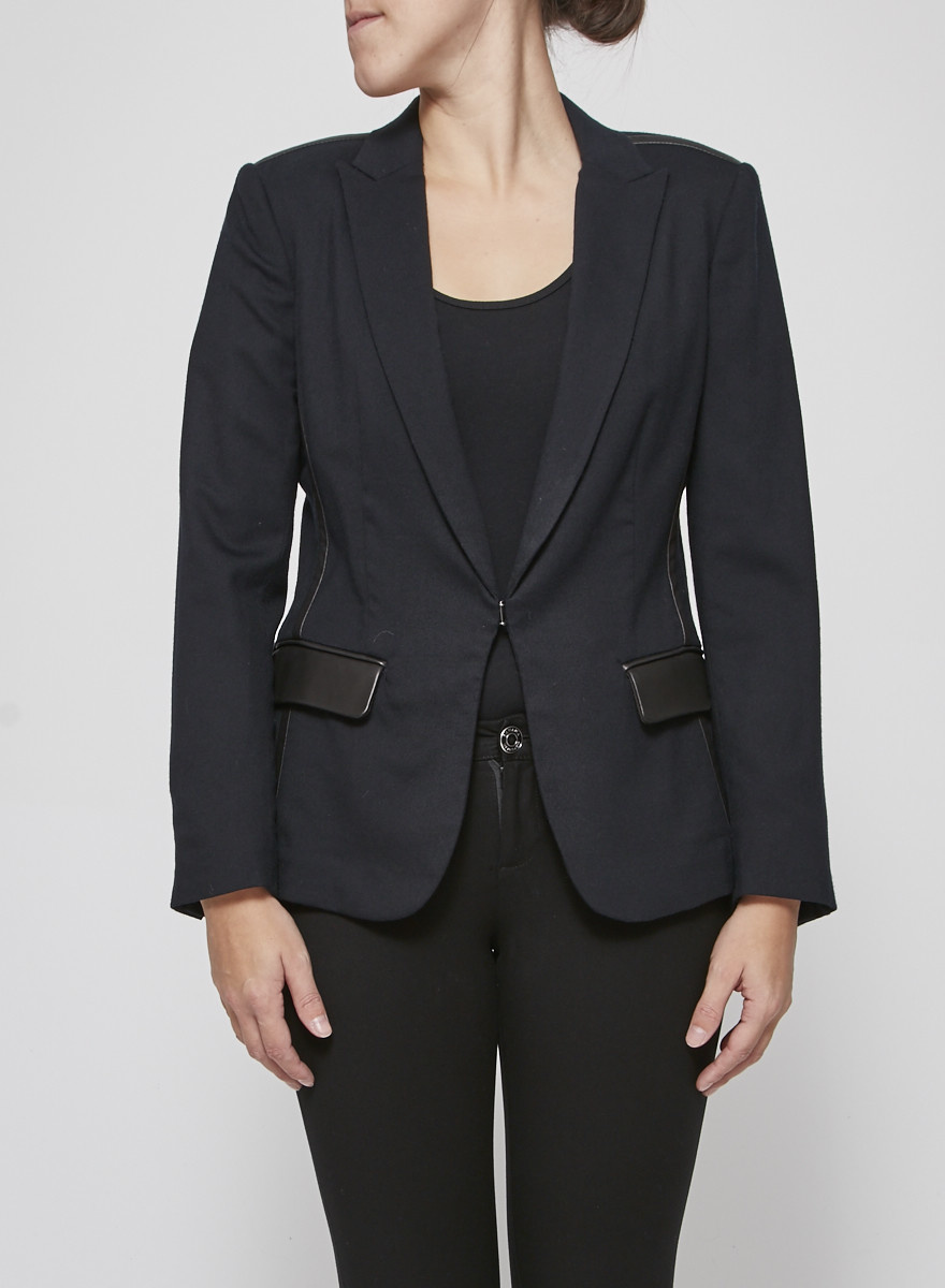 Rag & Bone Dark blue blazer with black leather yokes