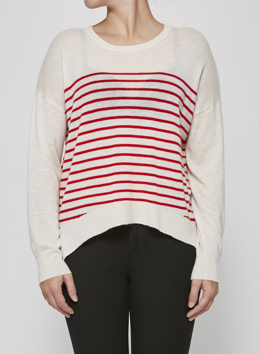 South Parade RED & OFF-WHITE CASHMERE SWEATER - NEW WITH TAGS