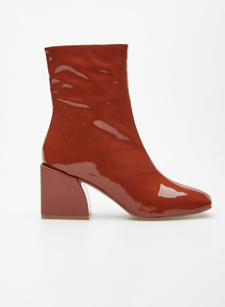 nakedvice RUST PATENT BLOCK-HEELED LEATHER BOOTIES - NEW