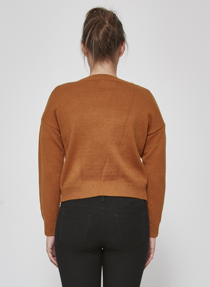 Heartloom BROWN CROP SWEATER - NEW WITH TAGS