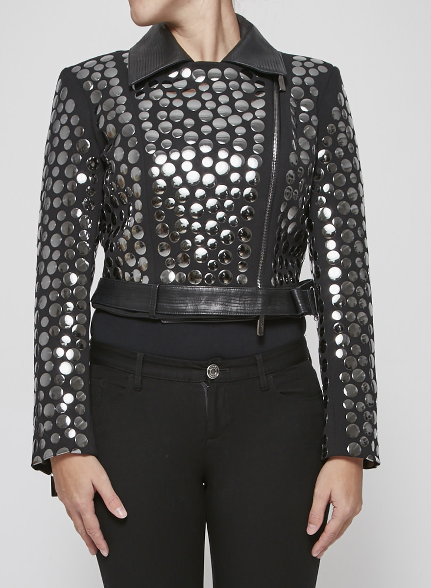 Gil Santucci Black leather jacket with round studs