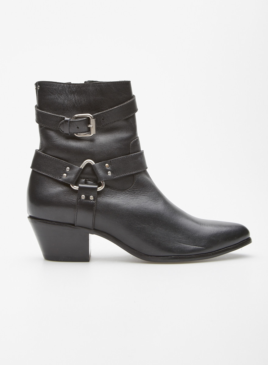 Cartel Black Buckled Leather Booties - New