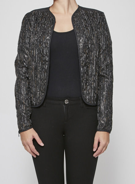 7 for all mankind SALE (WAS $130) - BLACK JACKET DECORATED WITH WHITE AND BROWN THREADS
