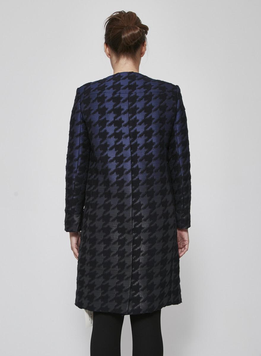 Ports 1961 Manteau bleu et noir à motif pied-de-poule