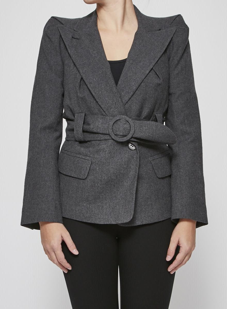 Sonia Rykiel Grey Belted Wool Blazer