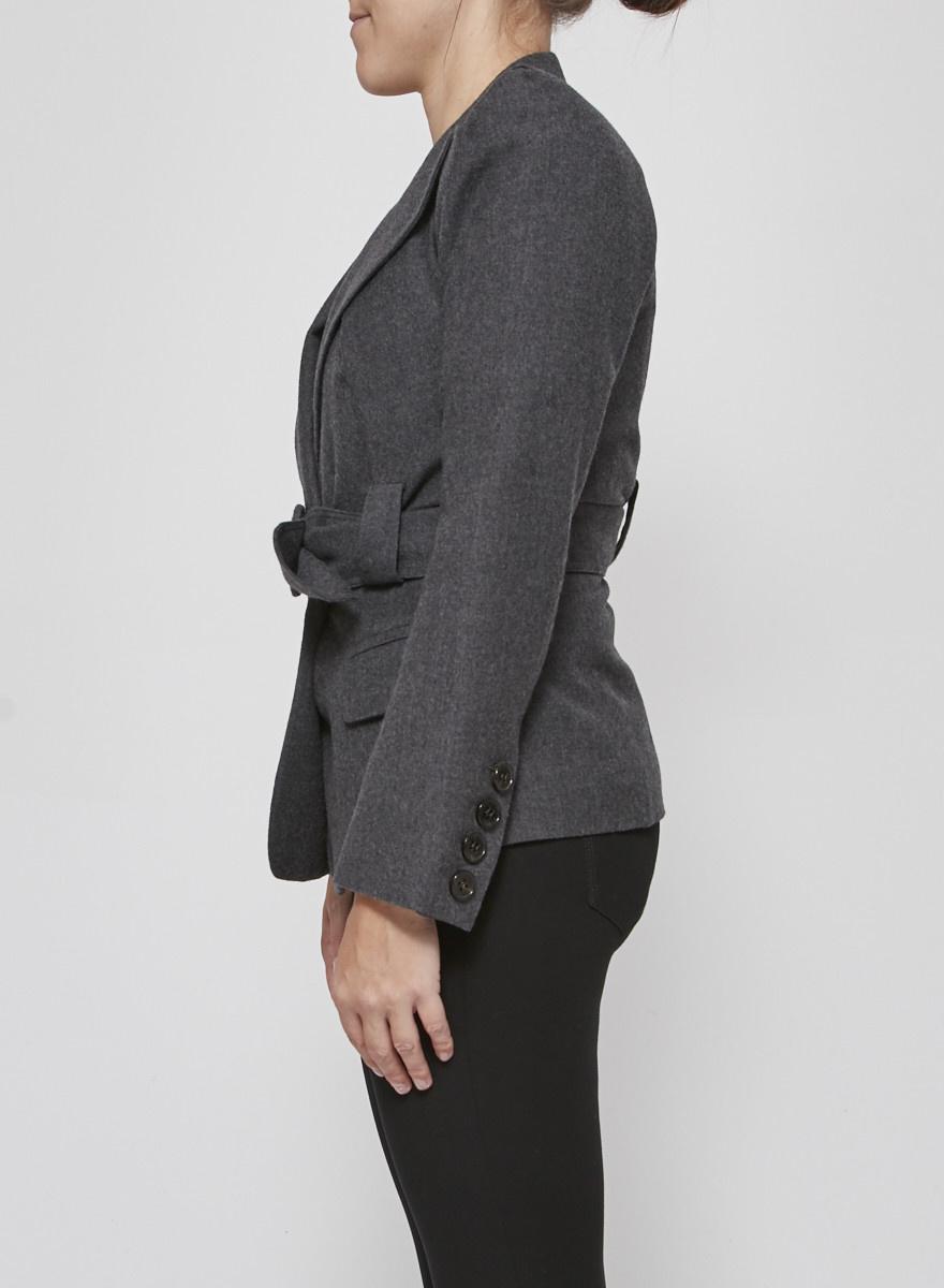 Sonia Rykiel Veston gris ceinturé en laine