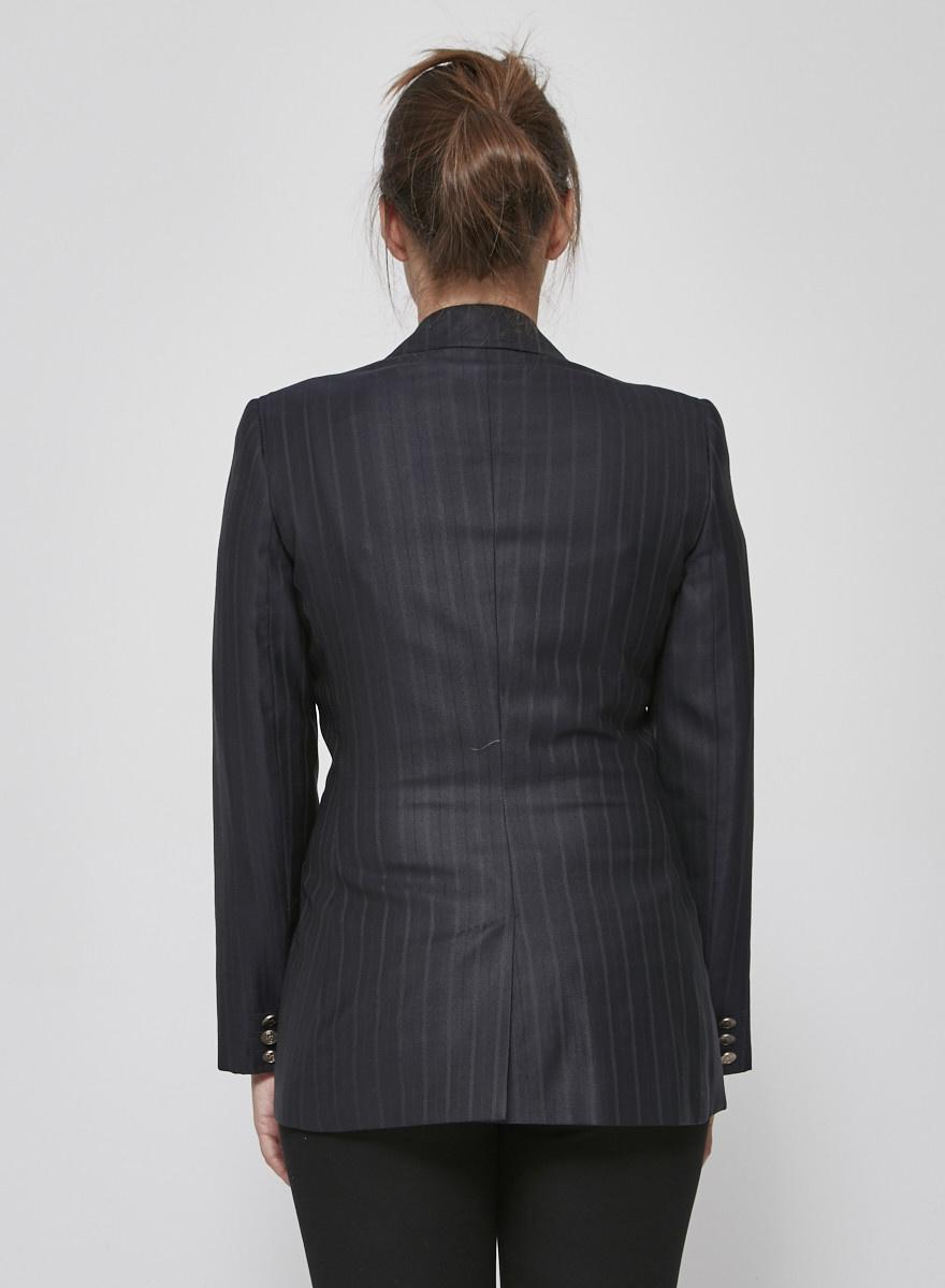 Dolce & Gabbana Veston bleu foncé à rayures fines