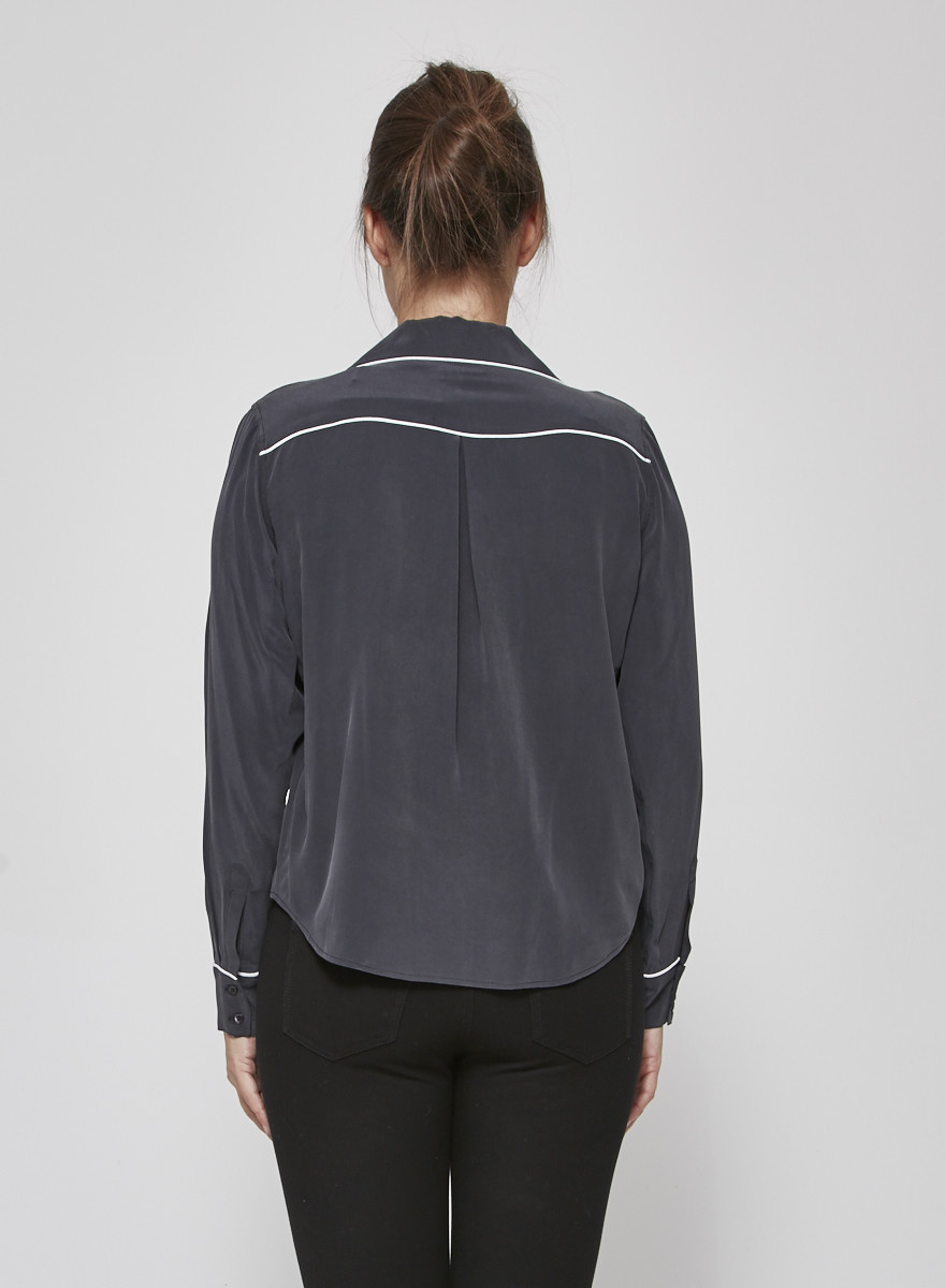 Rails Amara Grey Charcoal Silk Blouse - New with Tags