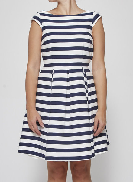 Kate Spade WHITE AND BLUE STRIPED DRESS