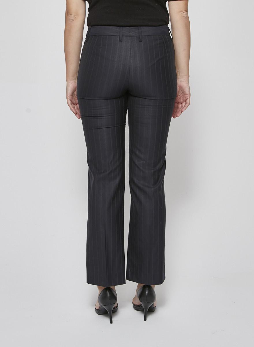 Dolce & Gabbana Pantalon bleu foncé à lignes fines