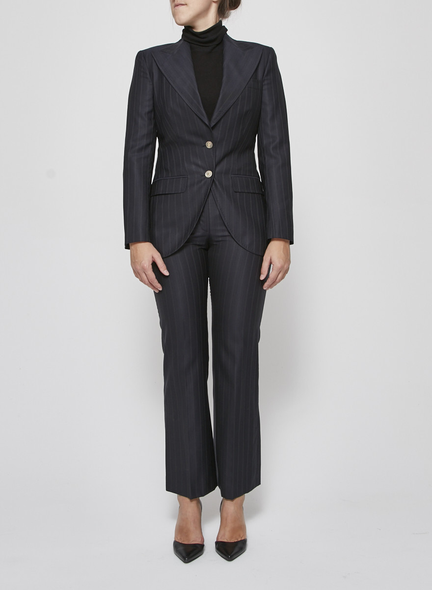 Dolce & Gabbana Dark blue pants with thin lines