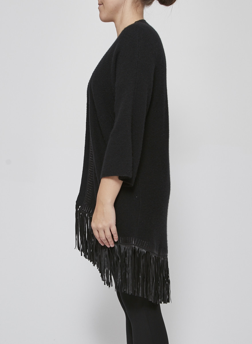 Zadig & Voltaire Deluxe Black Leather-Fringed Cashmere Cardigan