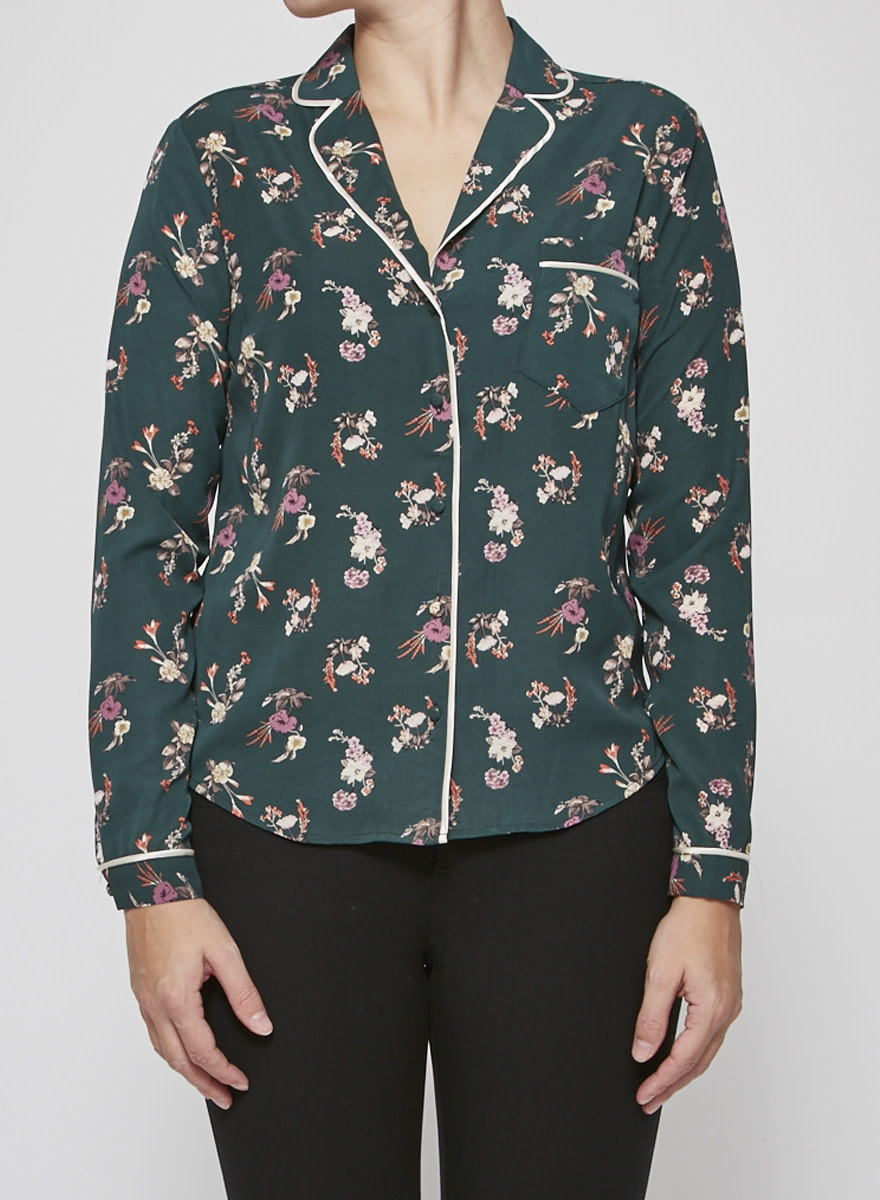 Heartloom Green Flower-Print Blouse - New with Tags