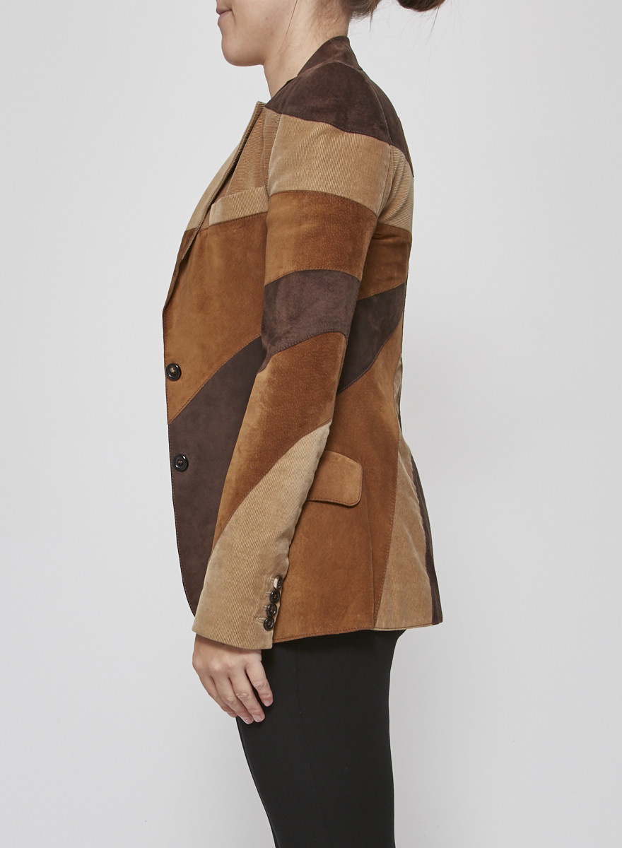Dolce & Gabbana Corduroy and Suede Patchwork-Effect Jacket