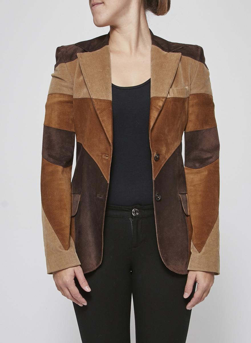 Dolce & Gabbana Veston style patchwork en daim et velours côtelé