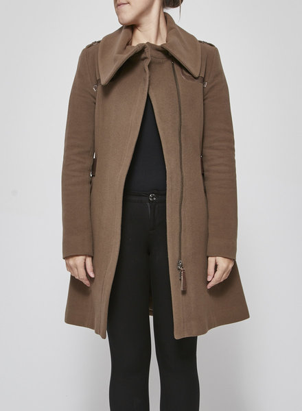 Mackage WOOLEN COAT WITH LEATHER DETAILS