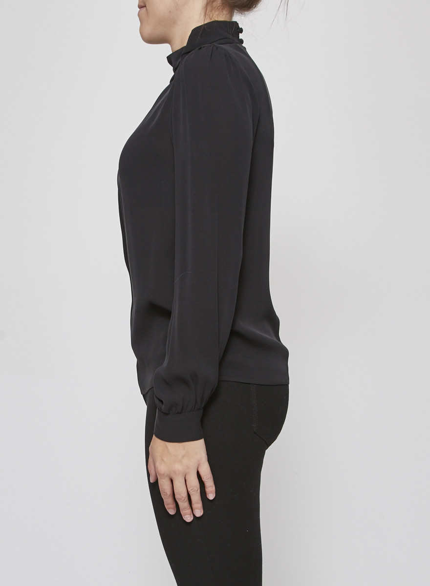 Tara Jarmon Black Silk Turtleneck Blouse