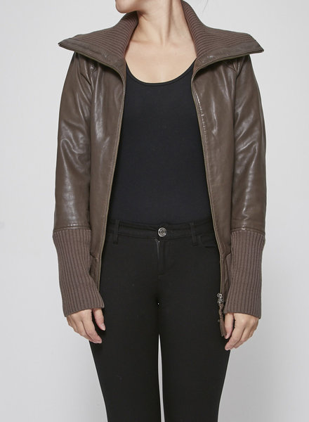 Mackage BROWN AVIATOR STYLE LEATHER JACKET