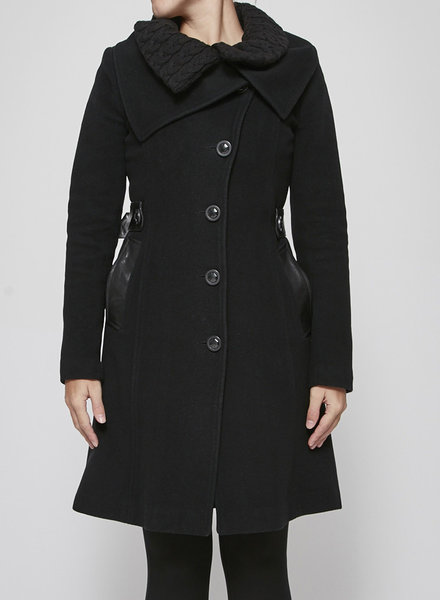 Mackage WOOLEN BLACK COAT WITH LEATHER MARTINGALE