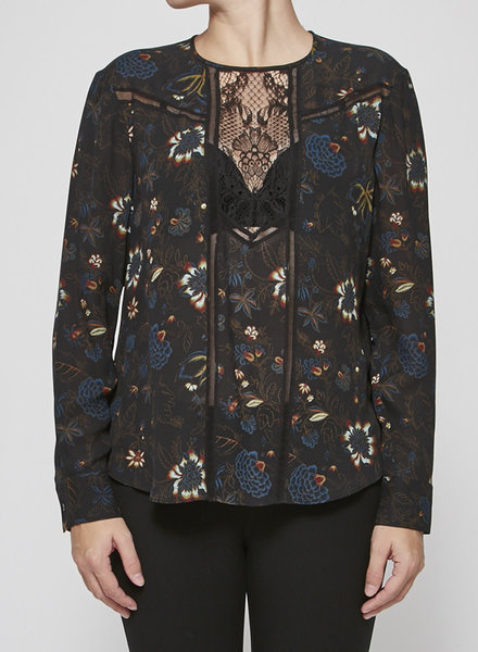 A.L.C. FLORAL-PRINT LACE-PANEL SILK BLOUSE