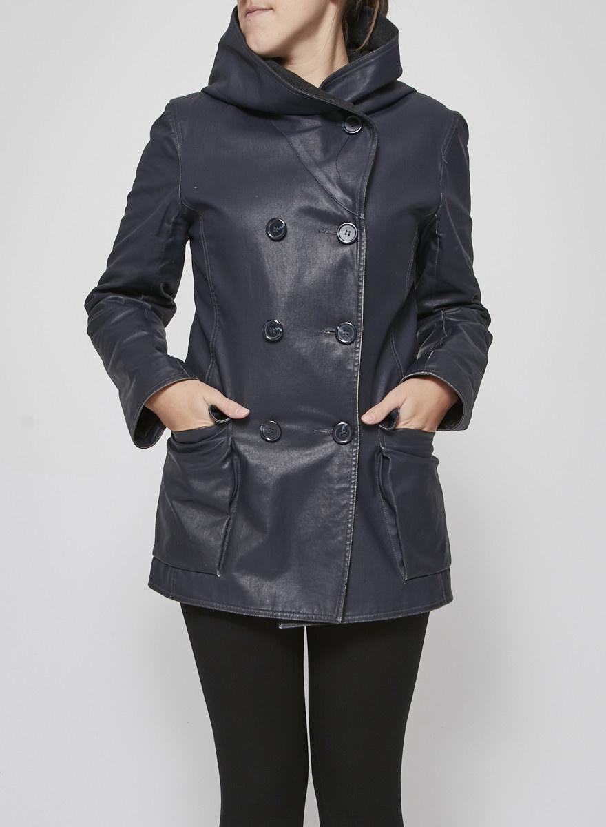 M0851 Manteau bleu et gris en toile enduite à capuche