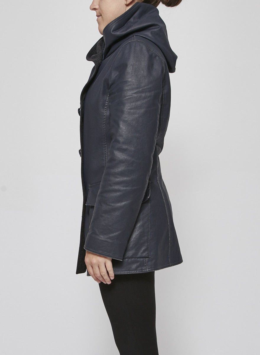M0851 Blue and Grey Hooded Coated Canvas Coat