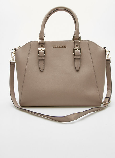 Michael Kors BEIGE TEXTURED LEATHER HANDBAG