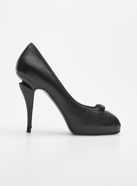 Chanel BLACK BOW-EMBELLISHED LEATHER PLATFORM PEEP-TOE PUMPS