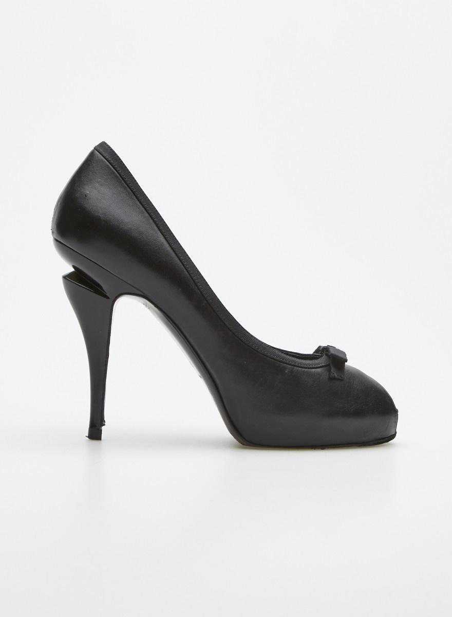Chanel Black Bow-Embellished Leather Platform Peep-Toe Pumps