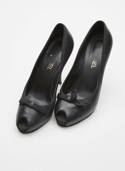 Chanel NEW PRICE (WAS $340) - BLACK BOW-EMBELLISHED LEATHER PLATFORM PEEP-TOE PUMPS