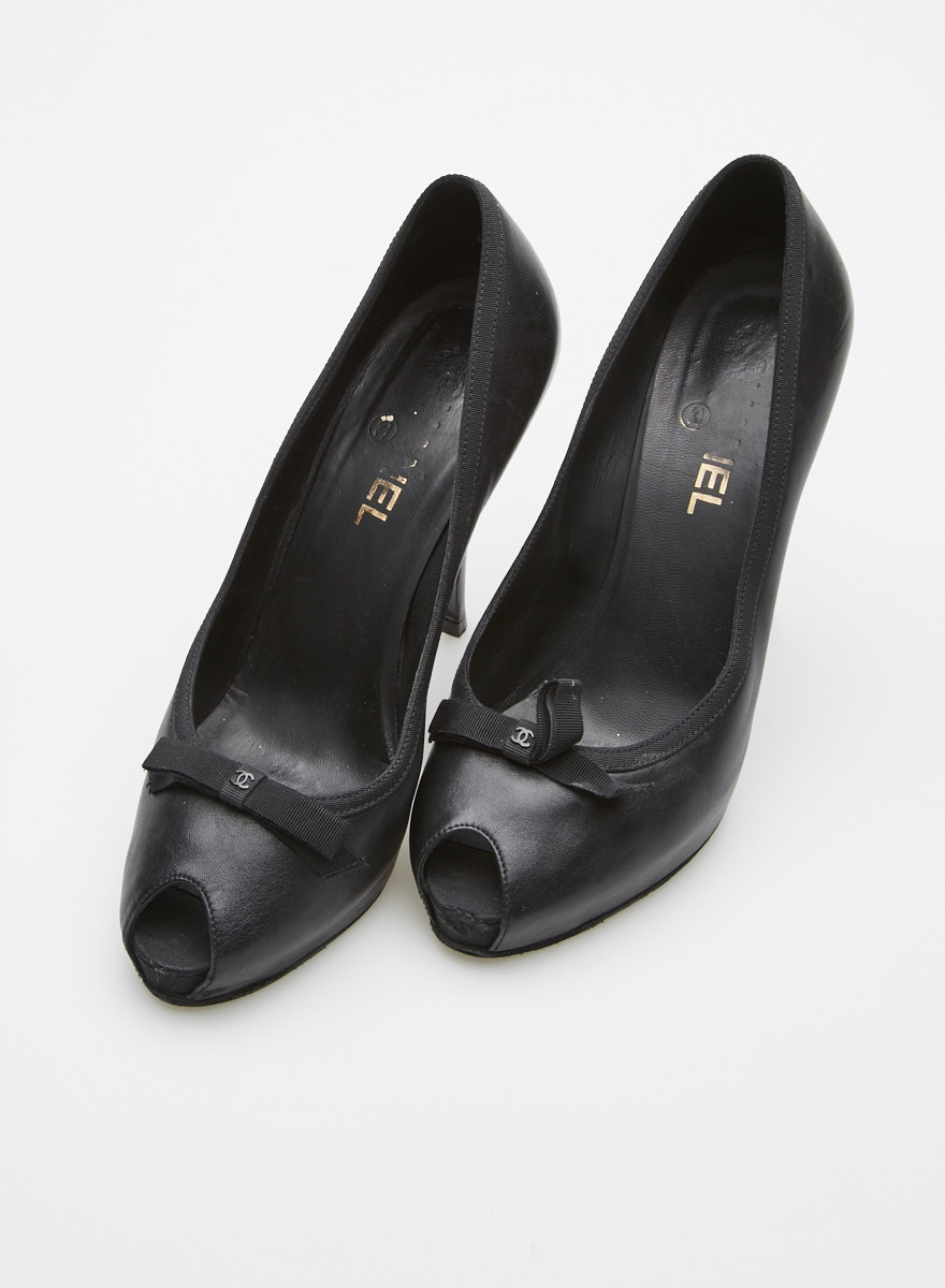 Chanel NEW PRICE (WAS $340) - BLACK BOW-EMBELLISHED LEATHER PLATFORM PEEP-TOE PUMPS