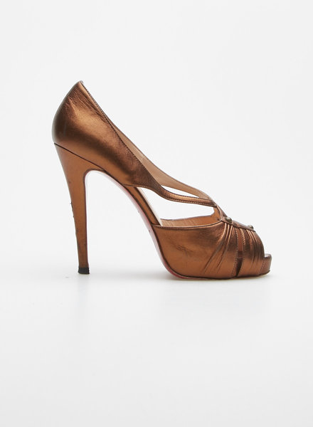 Christian Louboutin BRONZE LEATHER PEEP-TOE PLATFORM PUMPS