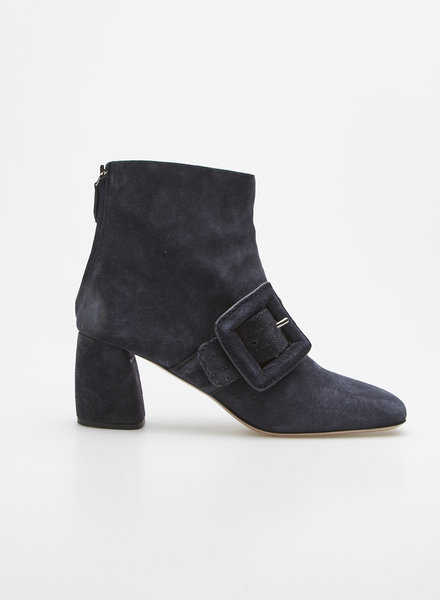 Miu Miu NAVY BUCKLED SUEDE BOOTIES