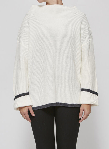 Charli WHITE MERINO WOOL & COTTON SWEATER - NEW