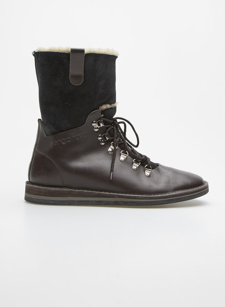 Sergio Rossi BROWN AND BLACK SHEARLING-TRIMMED SUEDE AND LEATHER WINTER BOOTS