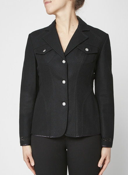 Kenzo Jeans BLACK WOOL JACKET WITH LAZER CUT SLEEVE DETAIL