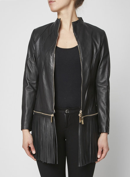 Gil Santucci BLACK LEATHER FRINGE JACKET