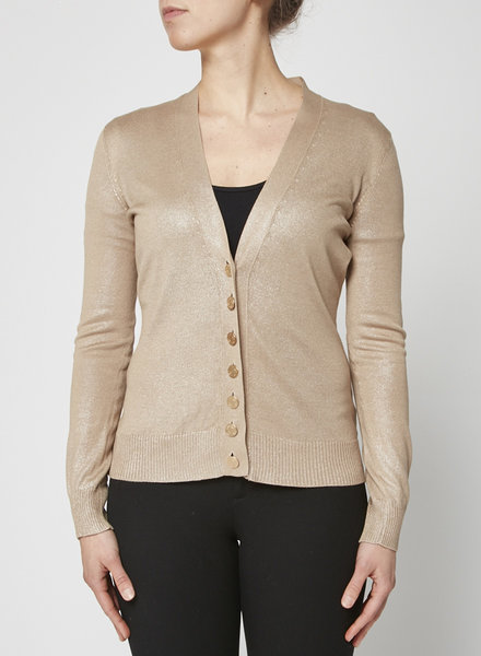 Hermès BEIGE SHIMMER SILK CARDIGAN WITH GOLDEN BUTTONS
