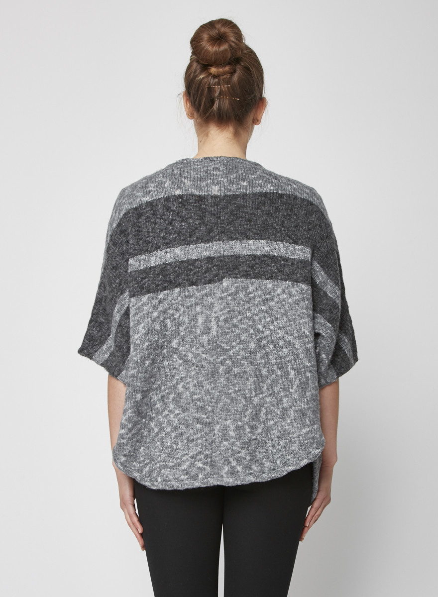 James Perse Grey knitted short sleeves vest