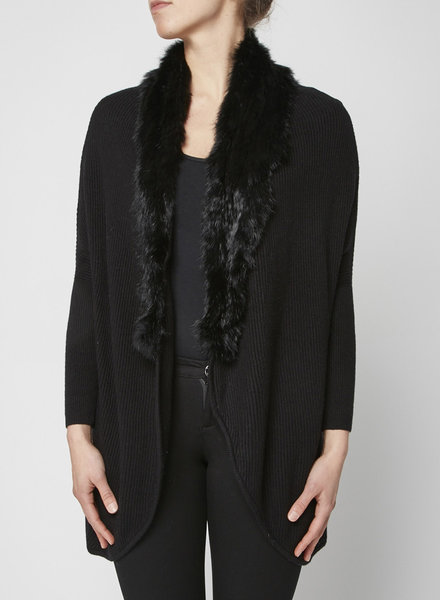 Joie BLACK CARDIGAN WITH COLLAR FUR