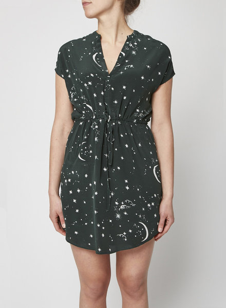 Rails GREEN STAR-PRINTED BELTED DRESS - NEW