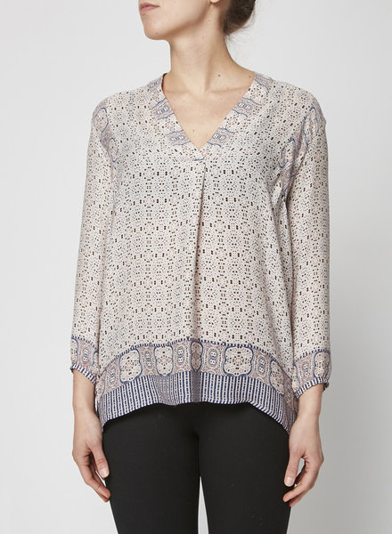 Vince COLORED PRINTED SILK BLOUSE