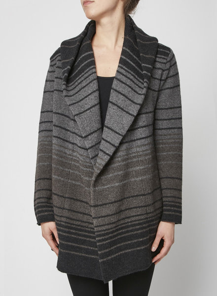 Vince GREY HOODED STRIPED CARDIGAN