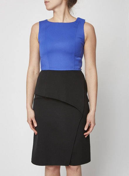 Carolina Herrera BLACK AND BLUE WOOLEN DRESS